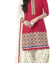 Buy Red american crepe printed unstitched salwar with dupatta punjabi-suit online