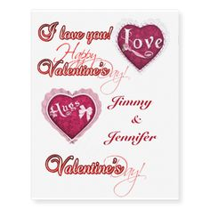 Customizable Happy Valentines Day Temporary Tattoos - What better way to say I love you then by wearing it? Valentine hearts and sayings a great fun gift
