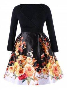 Vintage Floral Long Sleeve Dress. VestidosTamaño De ... 51d9f0cb5d9c