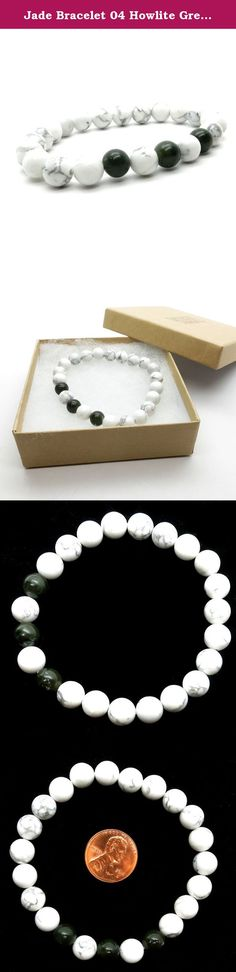 Jade Bracelet 04 Howlite Green Nephrite White Round Stone Stretch (Gift Box). JADE & HOWLITE STRETCH BRACELET Natural Nephrite Jade and Howlite are strung on your new crystal healing bracelet. The Jade is a genuine dark green crystal, almost black in color. The Howlite is a white crystal with unique gray veins. The healing crystals are polished into smooth 7mm to 8mm round beads and are strung on sturdy bracelet stretch cord for a comfortable and flexible wear. Jade is a dream crystal...