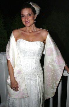 Bridal KIMONO Shawl Wedding Peacock White Pale Pink By Shantique 18000