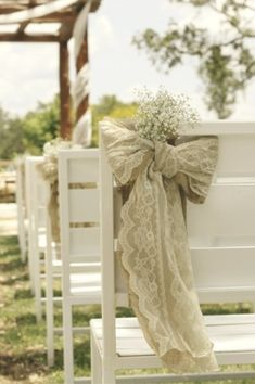Burlap, lace, and baby's breath bow wedding aisle decor. Simple, rustic elegance. by TinyCarmen