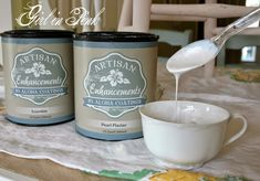 Create a pearlized glaze by mixing Artisan Enhancements Pearl Plaster and Scumble. Beautiful over pastel colors. Chalk Paint Wax, Chalk Paint Furniture, Hand Painted Furniture, Annie Sloan Chalk Paint, Furniture Refinishing, Painting Tips, House Painting, Mineral Paint, Painted Paper