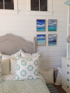 """Summer of Turks and Caicos"" series, now available at Waterleaf Interiors Manhattan Beach. 12"" x 15"" each.  Original paintings by Tricia Strickfaden. www.waterleafinteriors.com."