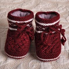 Wine Red #Hand-Woven #Baby #Wool Knitting #Shoes