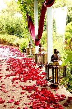 Moroccan lanterns and sprinkled rose petals in a lovely garden. #Moroccan #Lanterns #Garden.