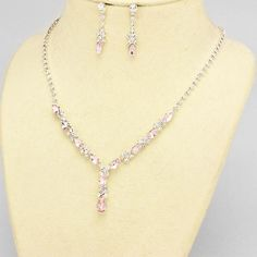Silver and Light Pink Rhinestone Evening Necklace Set