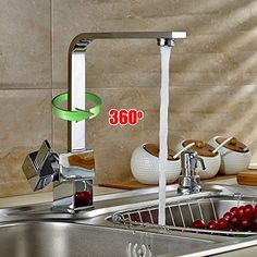 Auralum® Modern Taps Mixer Kitchen Sink Taps Swivel Spout Taps Luxury Chrome Faucets with Brass Faucet Body and Ceramic Cartridge(Hot and Cold Water Alternative)