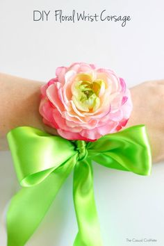 DIY Floral Wrist Corsage - handmade silk flower and ribbon wrist corsage perfect for special events.