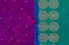 Deep purple soft silk with a dual tone of blue and green paloo and blouse. Deep Purple, Blue, Soft Silk Sarees, Green Blouse, Silk Thread, Pure Products, Quilts, Fabric, Color