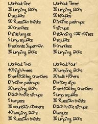 Four Day Workout-- excerises to do outside the gym. Will be great on vacation.