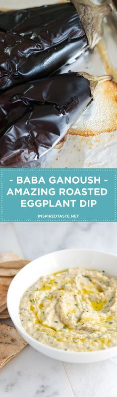 Making this Baba Ganoush recipe -- an amazing roasted eggplant dip -- at home is so simple. Serve with vegetables, sliced bread or baked pita chips. Recipe on inspiredtaste.net | @inspiredtaste