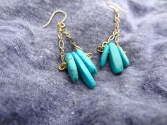 Gold and Turquoise Earrings. Hanging Earrings. 14kt Gold Chain. Dangling Earrings. Handmade. One of a Kind.