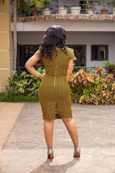 The Afram dress is a curve-hugging dress, suitable for any occasion. It features a fashionable asymmetrical neckline and square sleeves. It's claw print patterned fabric complements a variety of colors and accessories. Orders ship after seven business day African Print Dresses, African Fashion Dresses, African Dress, Fashion Outfits, Fashion Tips, Fashion Ideas, Fashion Styles, African Outfits, African Print Dress Designs