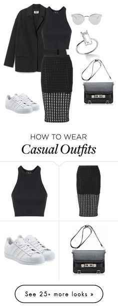 """Black Cool and Casual"" by bshujewelry on Polyvore featuring мода, Topshop, T By Alexander Wang, adidas Originals, Fendi, Proenza Schouler, women's clothing, women, female и woman"