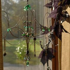 An understated piece of room jewelry. I have designed this chandelier as less of a suncatcher and more of a sculpture with a little sparkle. Wire Chandelier, Chandeliers, Copper Wire Art, Found Object Jewelry, Wire Crafts, Sculpture, Beads And Wire, Bead Art, Suncatchers