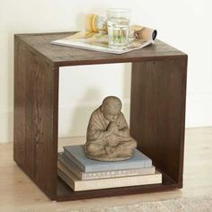 Vintage Fir Cube Side Table - VivaTerra