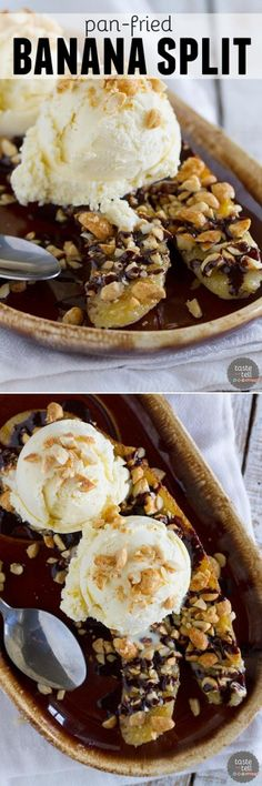 A modern take on the banana split, this Pan-Fried Banana Split recipe coats a banana in sugar and peanuts, then is served up with ice cream and an easy homemade chocolate sauce.