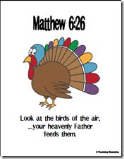 Matthew 6:26- with verse, puzzle and writing practice!