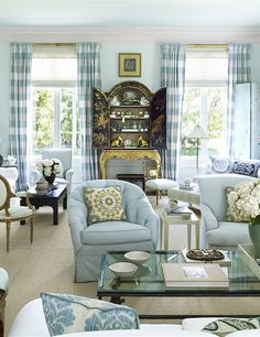 Lovely Palm Beach Living Room In Subtle Blues From the January/February 2016 Issue of Veranda