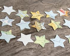 Paper star garland bunting recycled map atlas 12 ft wedding garland party photo booth spring home decor wall bridal baby shower nursery kids