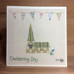 Christening Day hand stitched card