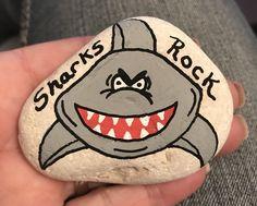 Shark Painting, Pebble Painting, Pebble Art, Stone Painting, Dot Painting, Stone Crafts, Rock Crafts, Hand Painted Rocks, Painted Pebbles