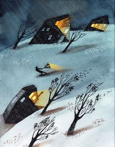 """A Particularly Stormy Night,"" illustration by Montreal artist, Marianne Ferrer. Winter, sometimes the harsh mistress. Night Illustration, Graphic Illustration, Graphic Art, Alberto Giacometti, Art Design, Whimsical Art, Bunt, Folk Art, Art Drawings"