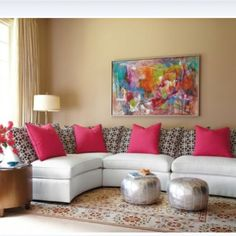 Pink Living Room Design Ideas, Pictures, Remodel, and Decor Eclectic Living Room, Living Room Designs, Decor Room, Living Room Decor, Home Decor, Design Marocain, White Sectional, Sectional Sofa, Beautiful Living Rooms