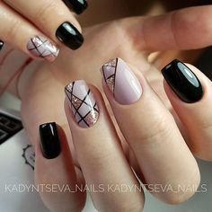Nude and black gel nails with glitter - Miladies.net