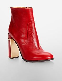 "Calvin Klein ""Karlia"" leather booties, $189; calvinklein.com"