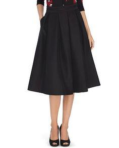 White House | Black Market Full Taffeta Black Midi Skirt #whbm