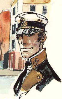 hugo pratt corto maltese watercolor Comic Book Artists, Comic Artist, Comic Books Art, Cartoon Sketches, Cartoon Art, Illustration Artists, Illustrations, Maltese, Edouard Hopper