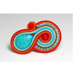 Soutache ring adjustable red blue turquoise orange jewelry handmade shop gift for sale to buy anneau anillo anello anel rengas pierścionek by SoutacheFlowOn on Etsy