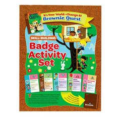 BROWNIE IT'S YOUR WORLD BADGE ACTIVITY SET |  This set contains earning requirements, program activities and information for earning five skill building badges related to the It's Your World-Change It! Journey: Computer Expert, My Best Self, Dancer, Home Scientist and My Family Story. Comes out to $11.50 per girl when you include the patches.