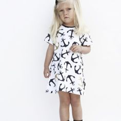 YmamaY Ninepin Rock Dress Wht/Nvy/Gd $62.90 Tutu, Short Sleeve Dresses, Rock, Pharmacy, Gd, Anchor, Clothes, Collection, Fashion