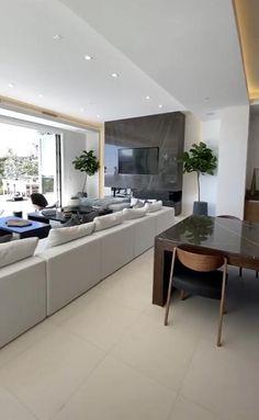 Modern Kitchen Design, Modern House Design, Interior Design Kitchen, Open Plan Kitchen Dining Living, Living Room Kitchen, Small Modern Home, Modern Contemporary, Living Room Partition Design, Cuisines Design