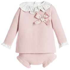 Paloma De La O Baby Girls Pink Knitted 3 Piece Shorts Set at Childrensalon.com