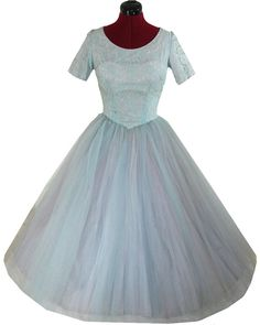 Vintage 50s Blue TULLE Cupcake Lace PROM Party by pinupdresses, $250.00