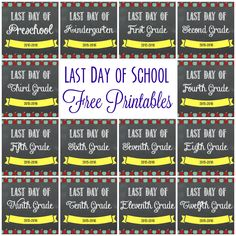 Last Day of School Free Printables,  Last day of school printable, chalkboard Printables, free Printables