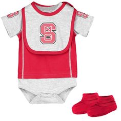 NC State Wolfpack Infant Little Jersey Bodysuit, Bib & Bootie Set - Red - $19.99