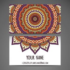 Business card design with mandala Free Vector Designed by Freepik - Graphic Templates Search Engine Cool Business Cards, Business Card Logo, Business Card Design, Mandala Design, Mandala Art, Vector Design, Vector Art, Creative Communications, Visiting Card Design