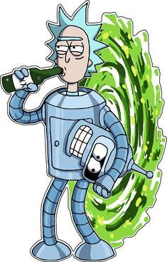 Rick & Morty Drinking Inter dimensional Portal / Sticker