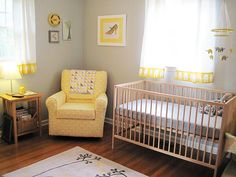 Yellow and grey nursery .. i love the idea of accenting with elephants