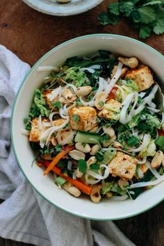 Fresh Asian Salad with Peanut Tofu & Rice Noodles