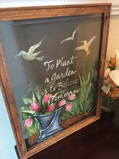To plant a garden is to believe in tomorrow by RebecaFlottArts pane ideas boho Items similar to To plant a garden is to believe in tomorrow, window screen, screen art, hand painted on Etsy Painted Window Screens, Painted Window Art, Window Pane Art, Old Window Screens, Hand Painted, Screen Doors, Old Screen Windows, Painted Walls, Chalkboard Art