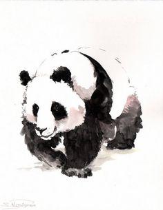 Panda, original watercolor paitning, black and white, 10 X 8 in, watercolor animal art, panda lover, panda art