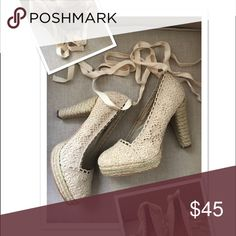 Gomax Ivory Crochet Heels New Gorgeous ivory crocheted heels by Gomax. Size 10. These are new, never worn, without box. Price Firm gomax Shoes Heels