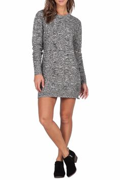 A sexy knit sweater style, the What I Want Dress has a relaxed fit and a mini length. Features a crew neckline and long sleeves. We love this look paired with booties, hoops and a slouchy bag. Features: Long sleeve relaxed fit mini sweater dress.    Measurements: length is 33 inches    What Want Dress by Volcom. Clothing - Dresses Providence, Rhode Island