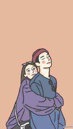 Cute Couple Drawings, Cute Couple Cartoon, Cute Couple Art, Cute Little Drawings, Cute Cartoon Drawings, Cute Love Cartoons, Anime Couples Drawings, Cartoon Art Styles, Cute Panda Wallpaper